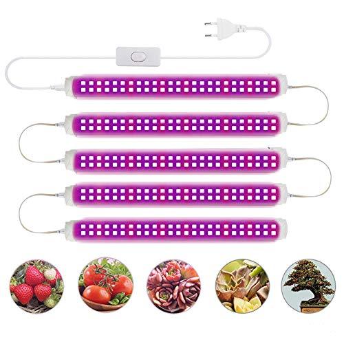 LED Pflanzenlampe Streifen mit 48 LEDs für Zimmerpflanzen LED Pflanzenlicht Röhre Vollspektrum T8 12,6 Zoll Grow Lampe 5PCS Pflanzenlicht Wachsen licht Wachstumslichtleiste für Pflanzengemüse Blüte
