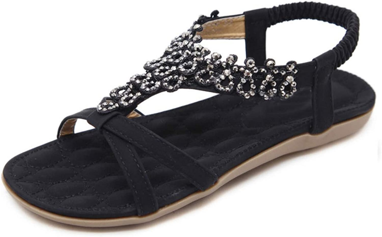 JOYBI Women's Flats Flip Flops Sandals T-Strap Slingback Rhinestone Comfortable Bohemia Casual Dress shoes Thongs