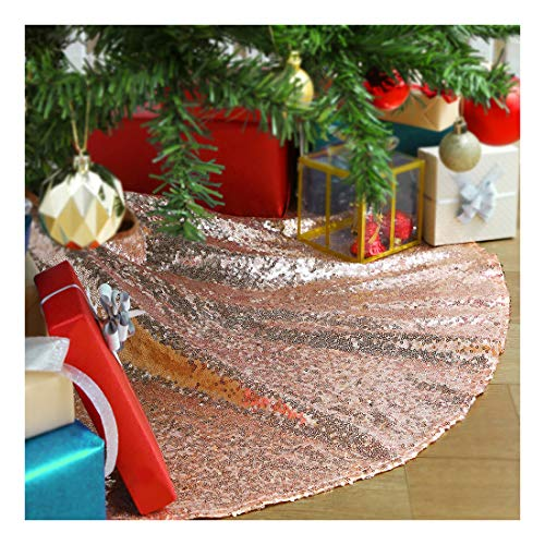 48 Inch Rose Gold Xmas Tree Skirt Christmas Decorations Sequin Tree Skirt New Year Party Indoor Holiday Tree Ornaments