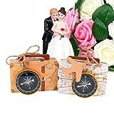 DISOK - Brújula presentada en caja de maleta vintage. Detalles vintage y retro para bodas, bautizos, comuniones, fiestas, eventos. (20)