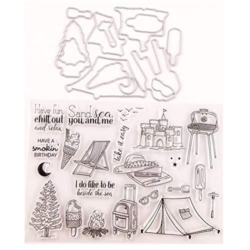 Azastar DIY Klar Silikon Stempel Blatt Scrapbooking Sommer Reise Schloss Zelt Weihnachten Geburtstag Geschenke