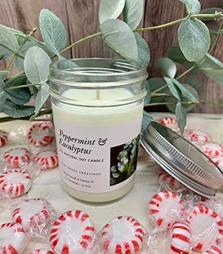 Peppermint & Eucalyptus Candle | Fiery Angel Creations Handmade Scented |Soy Wax Candle for Home | 8oz Clear Glass Jar, 35 Hour Burn Time, Made in the USA - Housewarming