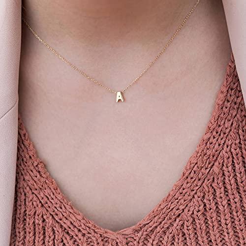 Collar con Inicial pequeño a la Moda, Collar de Gargantilla de Nombre único con Letras de Corte de Color Dorado y Plateado para Mujer, Regalo de joyería Colgante