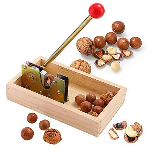 LIJIANZI Worth having - Buena herramienta de galleta de nuez de pecan de servicio pesado con base de madera y mango, tuercas fáciles de agrietamiento. Incluye pacana, avellanas, almendras, nueces, nue