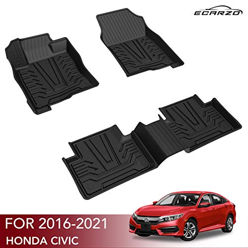 Floor Mats for 2016-2021 Honda Civic Sedan / Civic Hatchback / Civic Type R, Black TPE All-Weather Guard Includes 1st and 2nd Row: Front, Rear, Full Set Liners Accessories