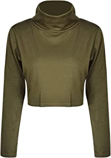 diffstyle Women Turtleneck Crop Tops Casual Long Sleeve Cropped T Shirts Tee Blouse