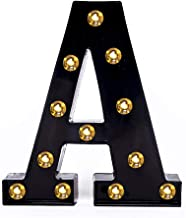 Foaky Black LED Marquee Letter Lights Sign 26 Alphabet Light Up Marquee Letters Sign for Night Light Wedding Birthday Party Battery Powered Christmas Lamp Home Bar Decoration (A)