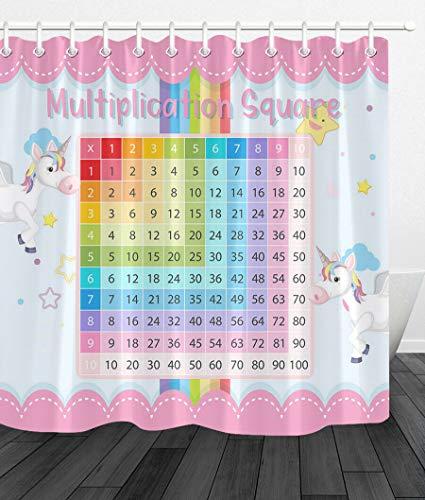 JHTRSJYTJ Karikatur-Einhorn-Kindermultiplikations-Quadrat Wasserdichter,schnell trocknender Duschvorhang,12 Haken,180x180cm,waschbar,unverzichtbar für das Bad