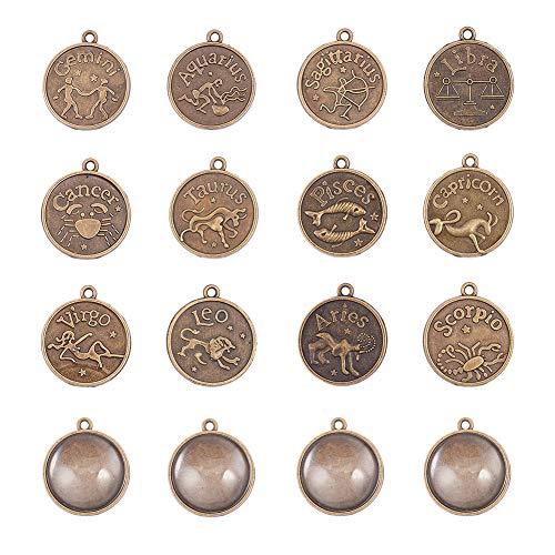 PandaHall Elite 24 piezas de estilo tibetano signos del zodiaco colgante con cabujón de cristal para fabricación de joyas
