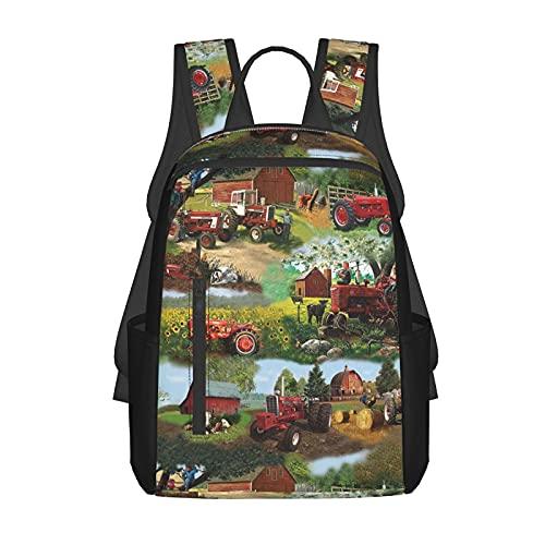 Farmall Tractor School Backpack Stylish Bookbag For Boys Girls Elementary School Casual Travel Bag Computer Laptop