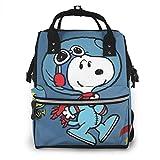 Bolsa de pañales - Astronauta Snoopy Mommy Baby Bag, multifunción de gran capacidad, mochila de viaje