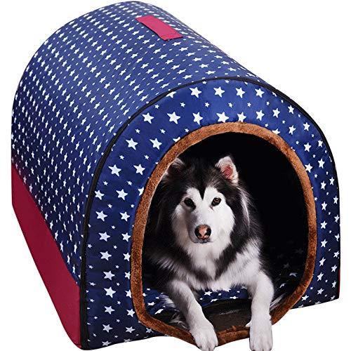 Yipianyun Mascota Perro Cubos Gato Cavidad, Cama De Suave Casa Plegable Lavable Dentro La Perros Tamaño Dots Azul,S