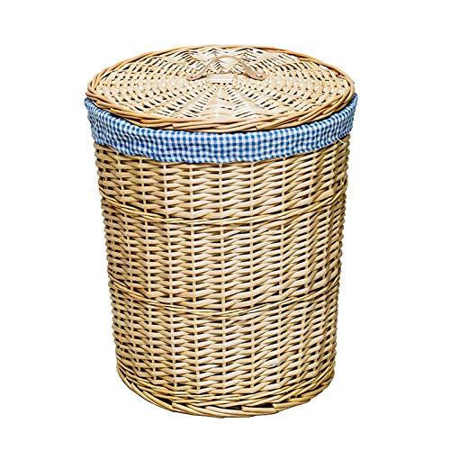 gaowei Cesta de mimbre hecha a mano para guardar ropa sucia, cesta de mimbre con tapa Debris (tamaño pequeño)