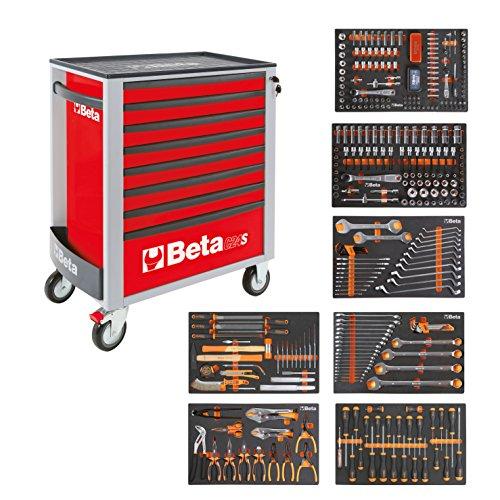 BETA Easy gereedschapswagen met 8 laden met 384-delig gereedschapsset, 2400S-O8/E-XL, 024002293 rood