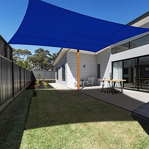 Ankuka Waterproof 10' x 13' Sun Shade Sail Canopy Rectangle Blue UV Block for Outdoor Patio and Garden, Yard Activities