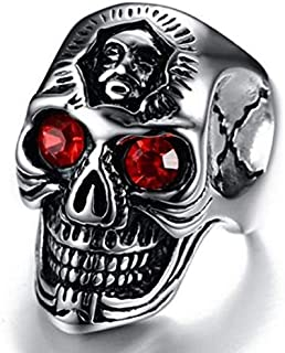 Hip Hop Mens Stainless Steel Skull Rings Size 11 with Red Eyes