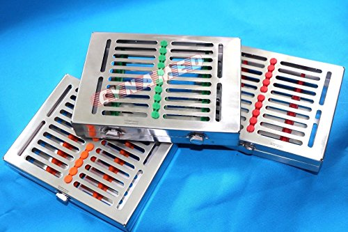 Premium German Stainless Set of 3 Heavy Duty Dental Autoclave Sterilization Cassette Box Tray for 10 Instrument-A+Quality Button Type Detachable CYNAMED Brand