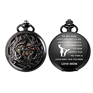SIBOSUN Pocket Watch Personalized Engraved Mechanical MOM to Son Birthday Graduation Dragon Phoenix