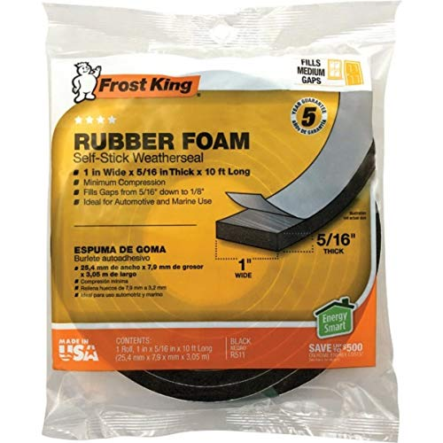 Rubber Foam Weatherseal Self Stick Tape Weather Strip Tape 1' x 5/16' x 10'