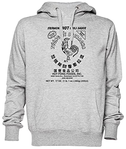 Sriracha Hot Chili Sauce Natural Color Gris Jersey Sudadera con Capucha Unisexo Hombre Mujer Tamaño M Grey Unisex Hoodie Size M