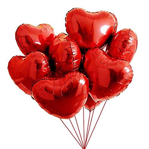 Gxhong 25 Piezas Globos de papel de aluminio, 18'' globos de corazón de Rojo Globos románticos de amor para cumpleaños, bodas, día de San Valentín, decoración de fiesta de Navidad (Rojo)
