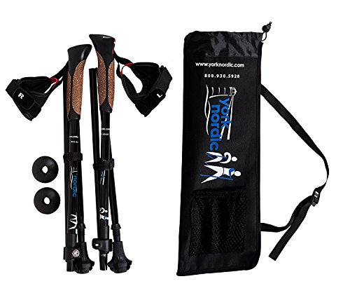 York Nordic Ultralight Shorter Length Traveler Trek Folding Walking Poles - 8 oz Each - w/Carrying Bag & Rubber Feet, 5ft 4in and Under