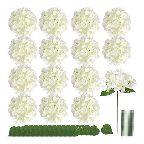 Auihiay - 15 cabezas de hortensia de seda, flores artificiales con hojas dobles y tallos para decoración del hogar, boda, fiesta (marfil)