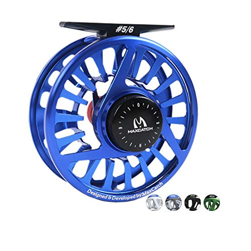 M MAXIMUMCATCH Maxcatch Fly Fishing Reel with CNC-machined Aluminum Body Avid Series Best Value - 1/3, 3/4, 5/6, 7/8, 9/10 Weights(Black, Green, Blue, Silver, Black&Silver) (Blue, 3/4 wt)
