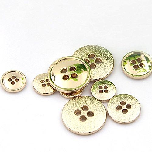Goldene Anzug-Knöpfe aus Metall mit 4 Löchern, rund, zum Annähen, 10Stück., gold, 15 mm