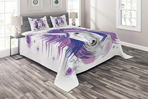Lunarable Einhorn-Deckenset King Size, Dreamy Mythical Creature Kopffigur mit Horn & pinklich-violetter Mähne, 3-teiliges dekoratives gestepptes Tagesdecken-Set mit 2 Kissenbezügen, Violett Mauve