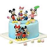 Mickey Cake Topper Mini Figurine,6 Pezzi Forniture per Decorazioni per Torte,Minnie,Paperino Mini Figure Set per la Decorazione Bella Torta Bella Festa di Compleanno,Cake Topper per Bambini Shower