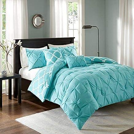 Madison Park Kasey 5 Piece Reversible Comforter Set Aqua Full/Queen