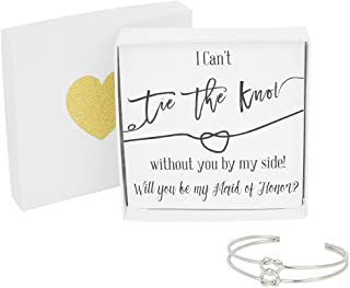 Bridesmaid Gifts - Tie The Knot Maid of Honor Cuff Bracelet with Gift Box, Double Love Knot Cuff Bracelet, Wedding Gift Set