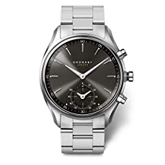 Silver Stainless Steel strap Stainless-steel case, Black dial Quartz movement Case diameter: 43mm Water resistant: 100m