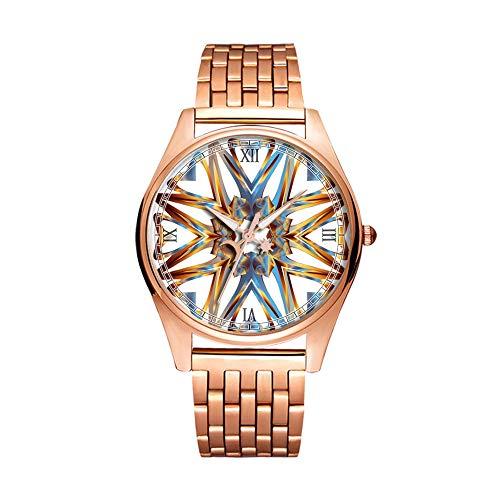 Reloj de Pulsera de Cuarzo Dorado Minimalista de Moda Ultra Delgado e Impermeable con patrón artístico -044, Colorido, prismático, cromático, Arco Iris (1)