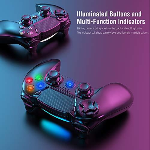 Gamory Wireless Controller für P4, Gamepad Bluetooth Wireless Joystick Touchscreen mit sechsachsiger Dual-Vibration und 3.5mm Audio-Port