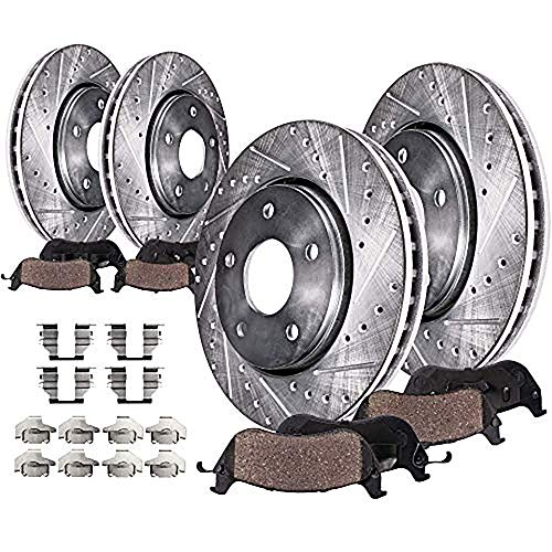 Detroit Axle - 320mm FRONT & 308mm REAR DRILLED and SLOTTED Brake Rotors & Ceramic Brake Kit Pads w/Hardware fits Infiniti EX35 G25 G35 G37 G45 M35 M45, Nissan 350Z 370Z
