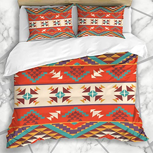 HARXISE Bedding - Duvet Cover Set Mexican Orange Navajo Aztec Pattern Peru Abstract Tribal Mexico Chevron Microfiber New Three-Piece Set Of Various Patterns Custom 2 Pillowcase Quilt cover 200 * 200