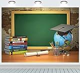 INRUI Regreso a la escuela Tema Fotografía Antecedentes Gorra de graduación Online Enseñanza Curso Decoración Regreso a casa Estudiante Niños Foto Telón de fondo (2,1 m x 1,5 m)