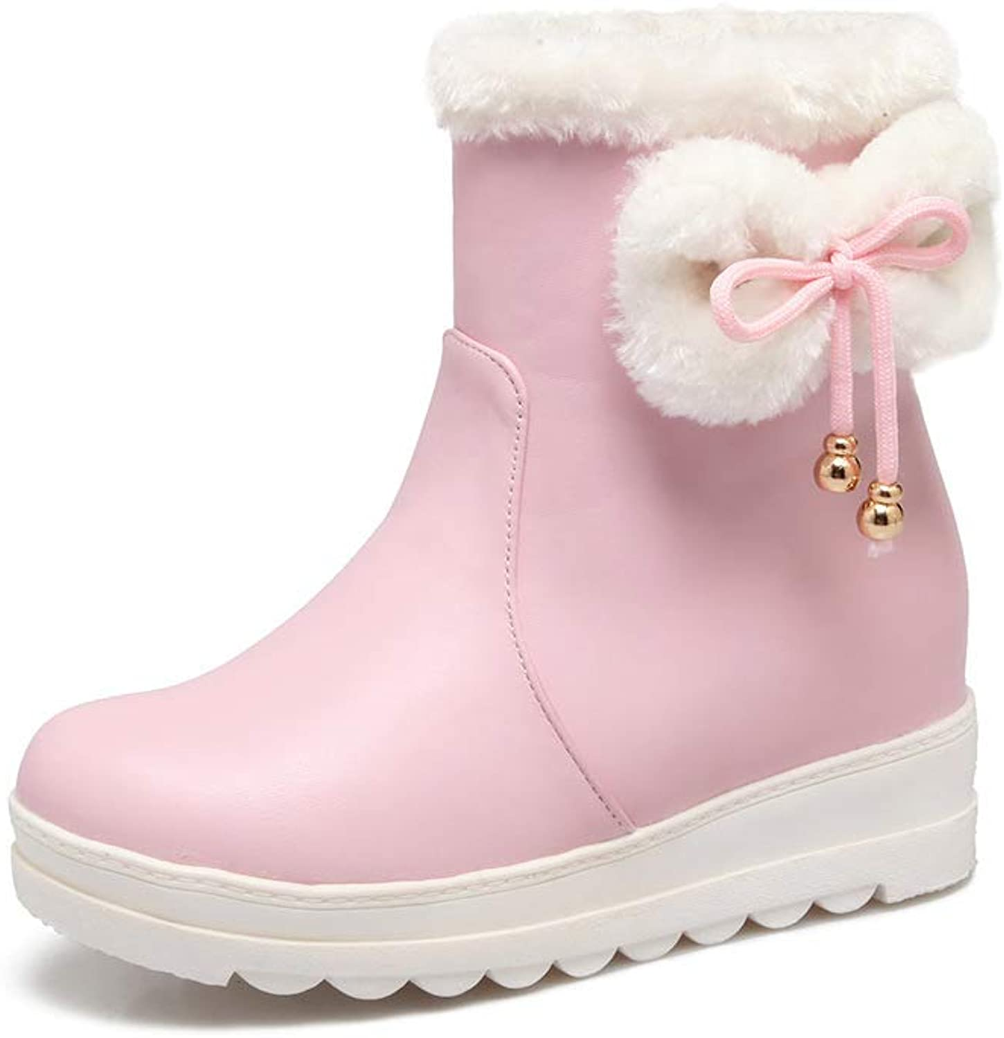 Women Sweet Bow Cotton Boots 2018 Winter Warm Snow Boots Outdoor Warm Sneakers Size 30-42,Pink,40