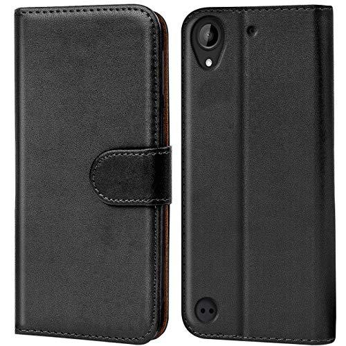 Verco Desire 530 Hülle, Handyhülle für HTC Desire 530 Tasche PU Leder Flip Hülle Brieftasche - Schwarz