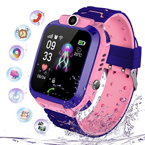 Smartwatch Impermeabile per Ragazzi Ragazze, Orologio Intelligente Telefono con LBS Locator Chat SOS Vocale Camera Math Game Anti-lost Bambini Bracciale Regalo Compleanno per iOS Android (S102 Rosa)