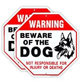 Enjoyist 2-Pack Beware of Dog Sign German Shepherd, Dog Warning Sign,12'x 12' 40 Mil Rust Free Aluminum Reflective Sign, UV Protected and Weatherproof