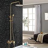 Set de ducha redonda (20 cm), color dorado