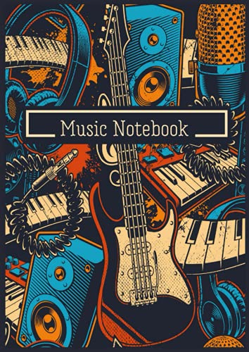 """Music Notebook: Blank Sheet Music Notebook - Staff Paper Notebook - 14 Staves Per Page - 119 pages - A4 - 8,27 """" x 11,69 """" - Studio d'Enregistrement - Guitare - Micro - Casque - Piano"""