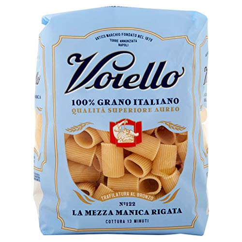 Voiello Pasta Mezze Maniche Rigate N.122, Pasta Corta di Semola Grano Aureo 100%, 500g