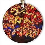 EaYanery Adorno de cerámica personalizable para Navidad, diseño de hojas de...