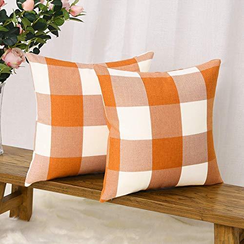 LSIENPF Juego de 2 fundas de cojín de lino y algodón, para salón, sofá, dormitorio, con cremallera invisible (50 cm x 50 cm), diseño de cuadros