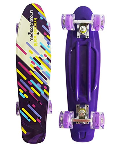 Runyi 22/24/27 Inches Mini Cruiser Skateboard Complete for Beginners Professional,Plastic Cruiser with Colorful LED Light PU Wheels,Gift for Boys Girls Kids Youths Teens Adult (22'' Colorful)