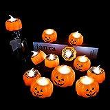 12Pcs Halloween LED Tealight Candles Set 3D Pumpkin Flameless Candle Light Battery Operated